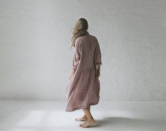 LINEN dress OVERSIZED dusty pink LOOSE tunic