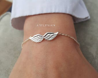 Angel wings bracelet, guardian angel gifts, infinity angel wing, angelite bracelet, remembrance bracelet, angel wing anklet, angel wing mom