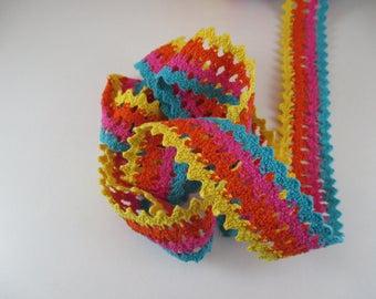 Cotton lace, multicolored lace Ribbon, width 3.5 cm.