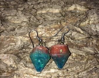 Resin diamond drop earrings