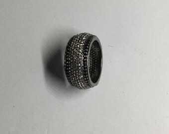 white topaz black spinal sterling silver ring
