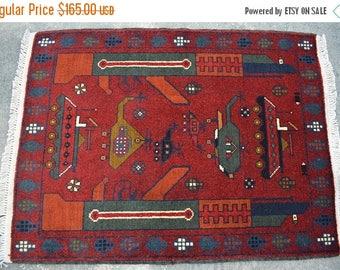 BIG SALE 2'10 x 2'1 FT Handmade Afghan Decorative Top Tang Tribal rug