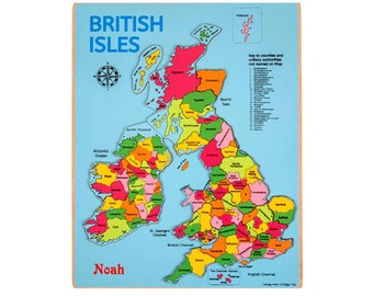 jigsaw map, British Isles. Personalised.