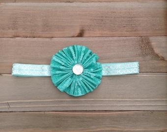 Aqua Ruffled Flower & Turquoise Silver Headband, Baby Girl Headband, Girl Headband, Shower Gift, Vintage, Handmade, Accessories, Bridesmaid