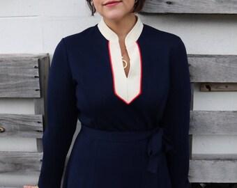 Beautiful Navy Long Sleeve 1970s Dress