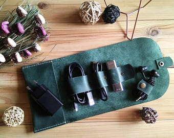 Organizer for wires-Holder for flash-holder for wires- Organizer for phone-Organizer for Tablet-Leather case for wires-Green cover-Hand-made
