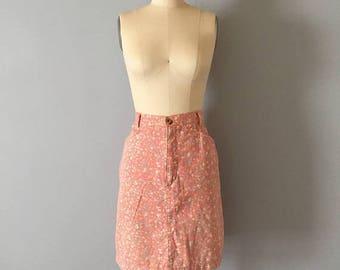 20% OFF SALE... peach pink denim skirt || 1980s floral denim pencil skirt