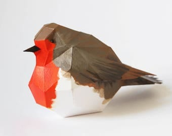 ROBIN Bird - Make a paper 3D bird decoration with this PDF download
