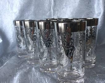 Mid Century Barware, Set/7, Silver Shield Kimiko Highball Glasses