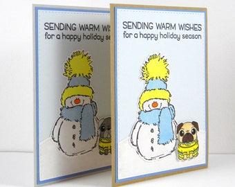 Pug Christmas Card, Pug Holiday Card, Pug Card, Dog Christmas Card