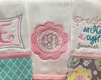 Embroidered Burp Cloth- 3 piece set