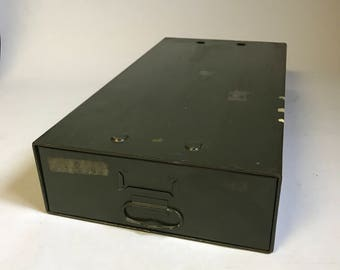 Vintage Metal Drawer,  Safe -T- Stak Drawer, Industrial Decor, Army Green Drawer, Library Index, Metal File Box, Industrial File,Mid Century