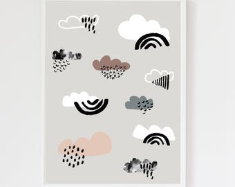 Cloud Cool Grey Children's Art Print