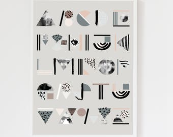 Abstract Alphabet Cool Grey Art Print