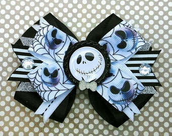Jack Skellington Nightmare Before Christmas Tim Burton Halloween Hair Bow Headband Spider Web Cartoon Movie