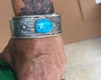 Sterling Silver and Turquoise Large Tufa Carved Cuff Bracelet / Men's Turquoise Cuff/ Mens Sterling Silver Bracelet / Men's Jewelry