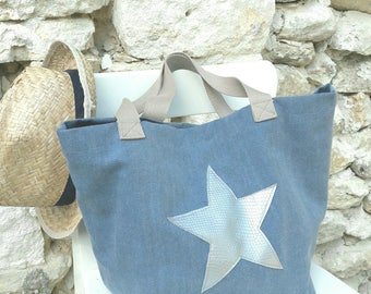 Blue jean tote bag with Silver Star