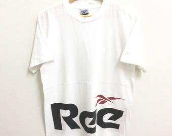 RARE!!! Reebok Big Logo SpellOut Crew Neck White Colour T-Shirts M Size