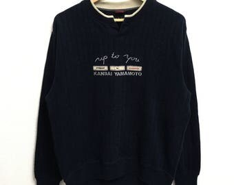 RARE!!! Kansai Yamamoto Up To You Big Logo Embroidery Dark Blue Colour Sweatshirts Hip Hop Swag L Size