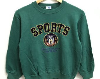RARE!!! Munsingwear Sports Big Logo Embroidery Crew Neck Green Colour Sweatshirts Hip Hop Swag 140 (Boys) Size