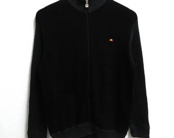 RARE!!! Ellesse Small Logo Embroidery Black Colour Zipper Sweaters Hip Hop Swag S Size