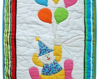 Baby Quilts Handmade, Unisex Crib quilts, baby shower gift,  Homemade Quilts, Boy Bedding, Funny clown & Fancy Balloons, Nursery Décor, blue