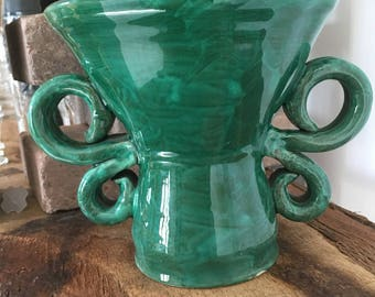 Vase has 2 green handles J.AUSTRUY VALLAURIS 50's.