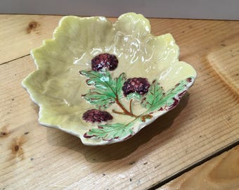 Vintage Ceramic Leaf Dish with Blackberries Trinket Dish Pin Tray