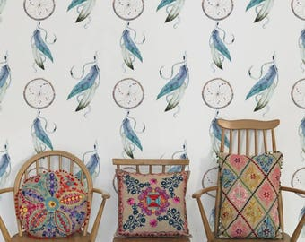 Dreamcatcher removable wallpaper, Boho decal, Feathers wall mural, Wall Decor, BW048