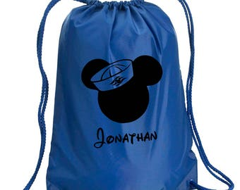 Disney Backpack,Mickey Mouse Bag,Personalized,drawstring bag,Disney Bag,Mickey Mouse Day Bag,Disney Cruise,Disney bag,Mickey Drawstring bag