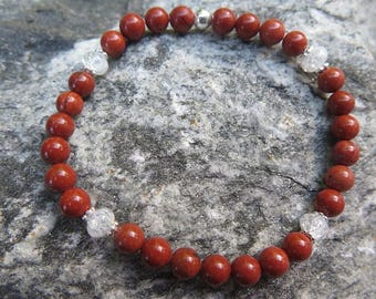 Red Jasper Bracelet with 6 mm and 925 Silver combined with Clear Quartz 'Crashed Crystal'