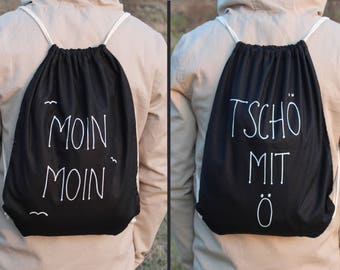 "Bye with ö-turning bag ""Moin & Bye-both sides O. One side-moin Moin-turn bag black-cotton-hand painted-Ahoy, Maritim"
