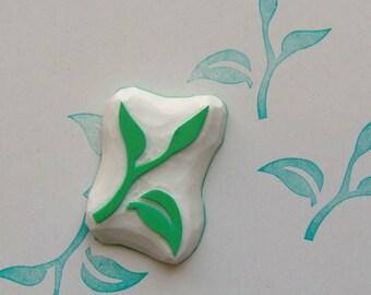 Tea leaf rubber stamp, tea leaves stamp, tea stamp, leaf rubber stamp, green tea rubber stamp, tropical leaf stamp, tea leaf stamp, leaf diy