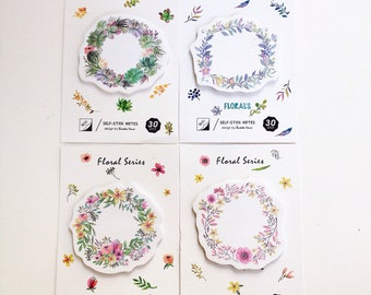 Floral wreath flower succulent sticky notes/ post it notepad