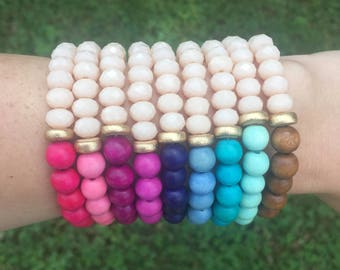 Your choice colorful beaded stack bracelet, boho stack bracelet, wood bracelet, glass bracelet, statement jewelry