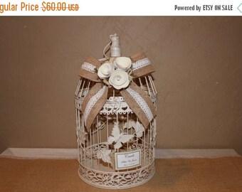 ON SALE Wedding Birdcage Cardholder / Ivory Wedding Birdcage / Wedding Cardholder