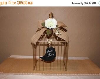 ON SALE Wedding Birdcage Cardholder / Gold Wedding Birdcage / Gold Wedding Cardholder