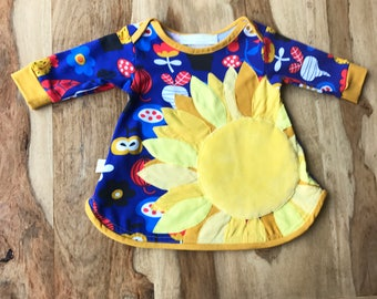 Sunflower Baby and Toddler Dress with Retro Flower Print in Organic Cotton