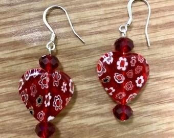 Heart lampwork earring