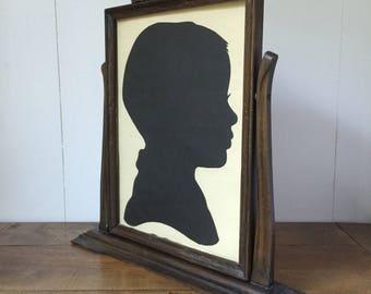Wood Frame, Vintage Wood Frame, Vintage Swing Frame, Frame With Silhouette, Antique Frame