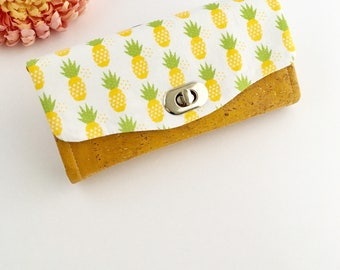 Small purse, Pineapple purse, pineapple wallet, pineapple clutch, pineapple bag, women's wallet, yellow purse, cork leather wallet, vegan