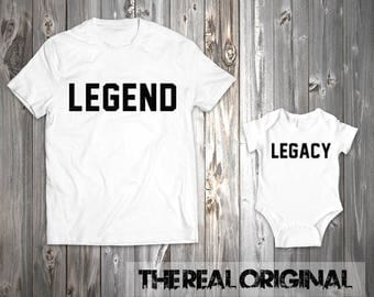 Legend Legacy Matching Father Son Matching Shirts Bodysuit Daughter Daddy and Son Father's Day Shirt Matching RO256-RO257