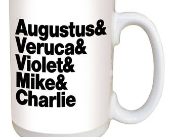 Willy Wonka Mug. Large 15 ounce coffee mug w/ comfortable handle. Image printed on both sides. Dishwasher & microwave safe. Great gift!