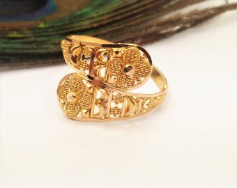 GOLDSHINE RING Size 6.5 22K Solid Yellow Gold handcrafted 2.44gm For Women Teen