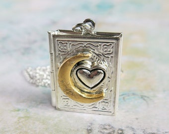 Love Locket Necklace, To the Moon and Back, Book Locket Necklace, Harvest Moon Necklace, Heart Jewelry, Moon and Heart Pendant, Gift Locket