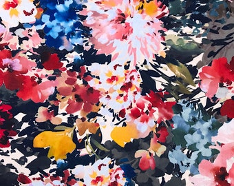 Floral print stretch polyester