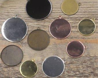 50pcs 20-30mm brass bezel Pendant trays , Pendant Setting,setting Jewelry findings