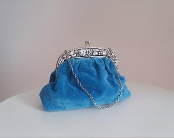 Antique velvet purse   evening purse   silver frame evening clutch