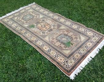 Vintage Rug, Muted Area Rug, Handmade Rug, Turkish Rug, Kilim Rug, Decor Rug, Wool Rug, Bohemian Rug//182 x 97 cm = 5,9 ft x 3,1 ft