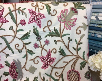 Springtime Floral Crewel Remnant Drapery Fabric, One Yard, Sewing, Home Decor
